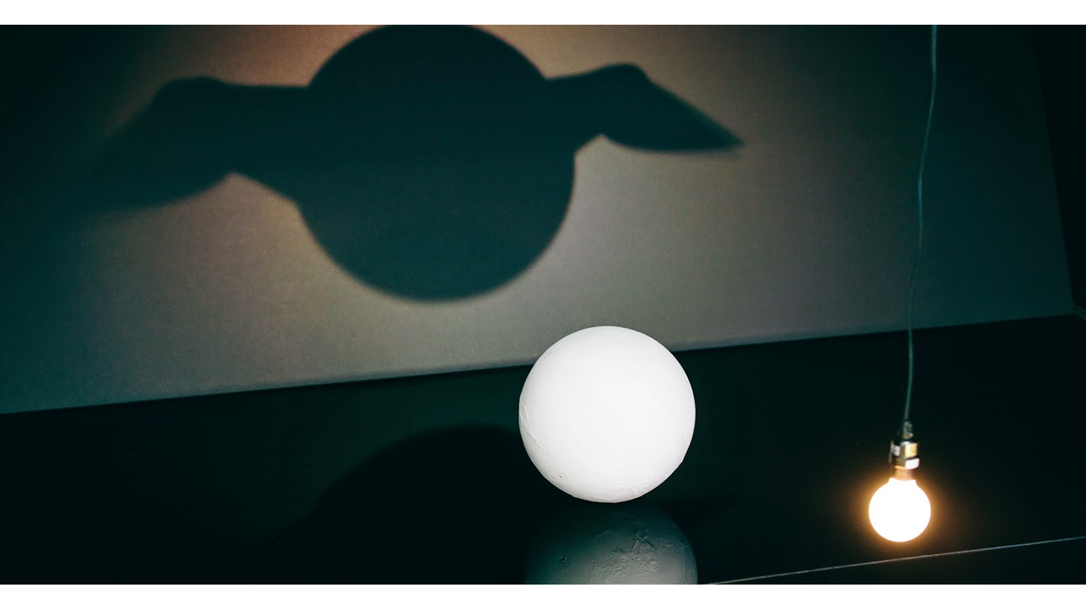 A light casting a shadow of a sphere but the shadow has wings
